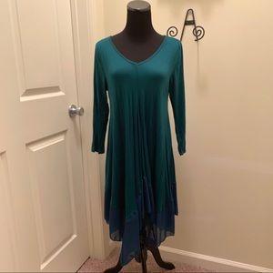 Long Sleeve Asymmetrical Chiffon Hem Jersey Dress